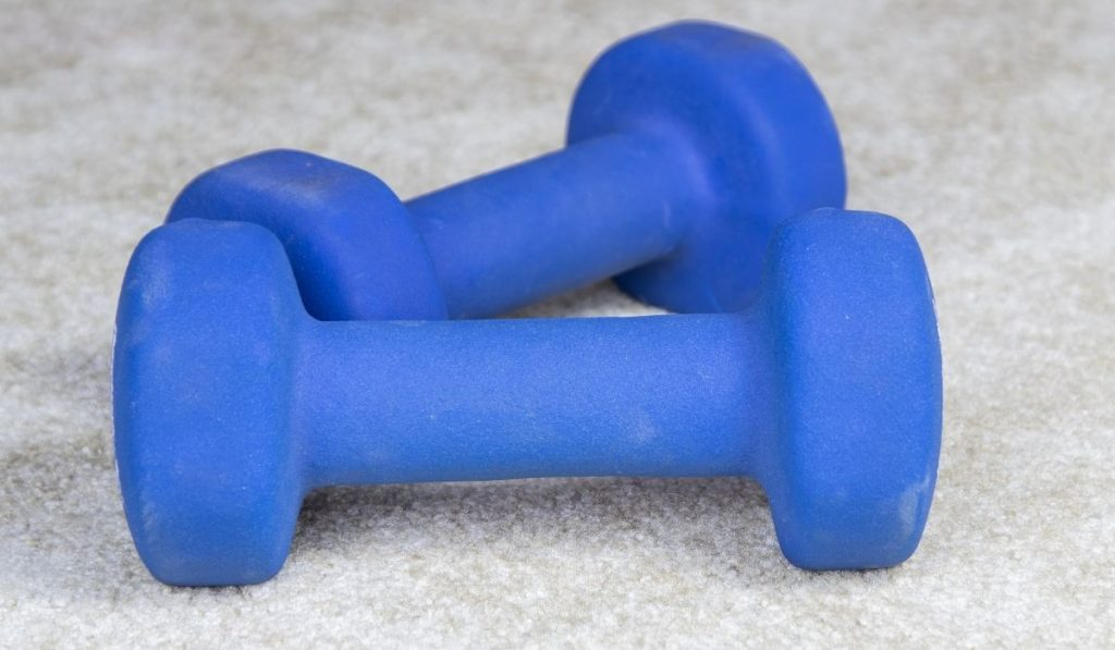 rubber coated dumbbells on the floor