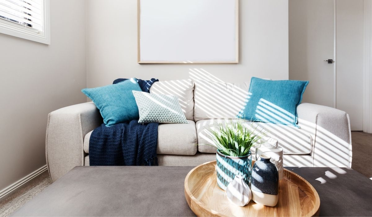living room with blue accents
