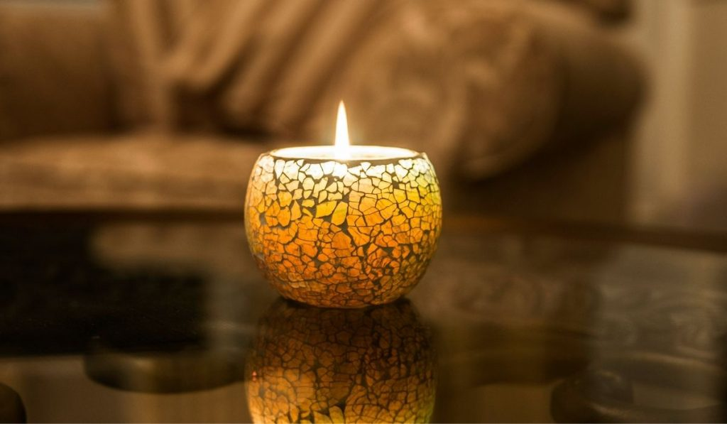 Candle in living room