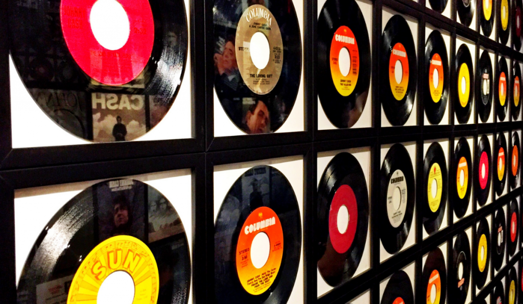 Frames of vinyl records on the wall.